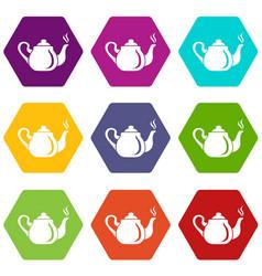 Porcelain teapot icons set 9 vector