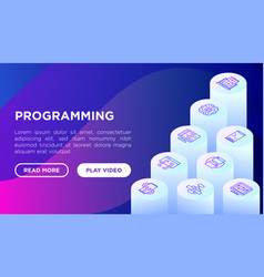 programming concept with thin line isometric vector image