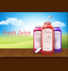 Realistic banner with juice bottles vector