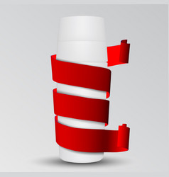 realistic red velvet glossy paper tape around a vector image