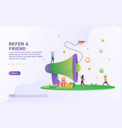 Refer a friend concept people share info about vector