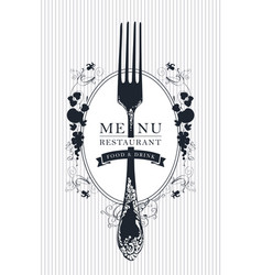 Restaurant menu cover with a fork in retro style vector