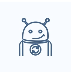 Robot with refresh sign sketch icon vector image