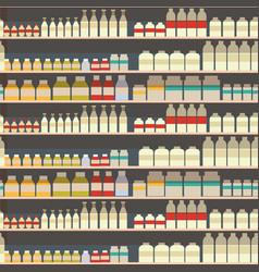 seamless pattern of dairy department milk shelf vector image