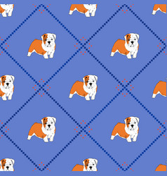 seamless pattern with puppy english bulldog vector image