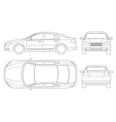 sedan car in outline business sedan vehicle vector image