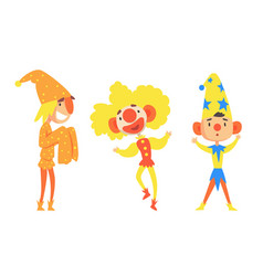Set different holidays clowns in colorful vector