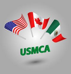 set of three waving flags usmca vector image