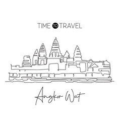 Single continuous line drawing angkor wat temples vector