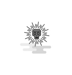 skull web icon flat line filled gray icon vector image