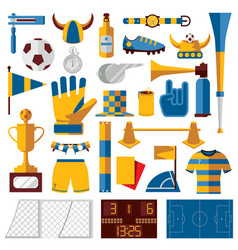 soccer kit with training fan and playing vector image
