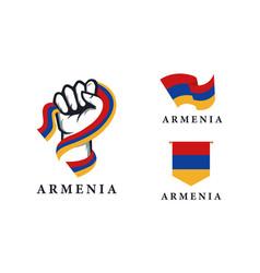 Spirit rising hand armenia flag series set vector