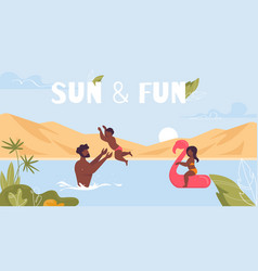 Sun and fun motivation poster with happy family vector