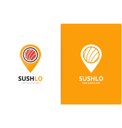 sushi and map pointer logo combination vector image