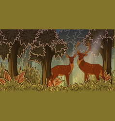 Two deers in forest cartoon style vector