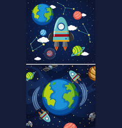 Two scenes of earth and spaceships in space vector