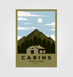 Vintage cabins poster design night camp vector