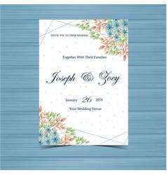 watercolor blue floral wedding invitation vector image