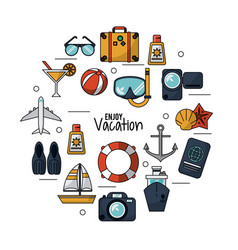 White background of enjoy vacation with set icons vector