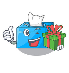 With gift cartoon tissue box on a sideboard vector
