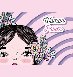 woman power girl cartoon vector image