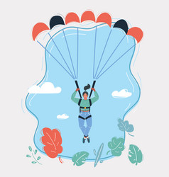 Woman with parachute in sky vector
