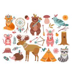 woodland cute animal tribal fox forest adventure vector image