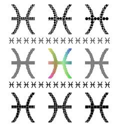 Zodiac sign pisces set vector
