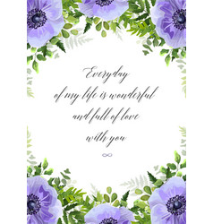 floral greeting card postcard with anemones vector image