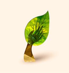 hand tree green environment help vector image vector image