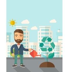 Man watering a tree vector image vector image