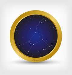 orion constellation in golden circle vector image vector image