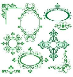 Set of floral elements - corner oval circle vector image vector image
