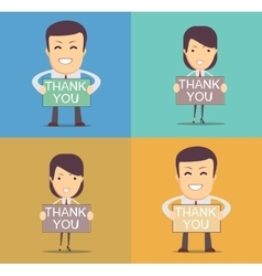 Businessman holding thank you sign vector image