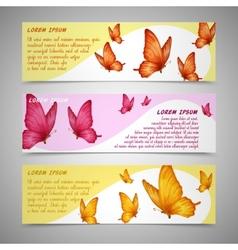 Butterflies banners set vector image