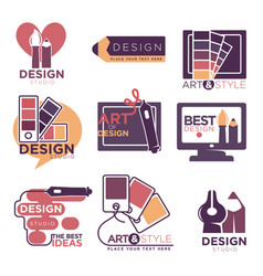 design studio logo labels collection isolated on vector image vector image