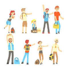 hitchhiker standing with backpack and bag set for vector image