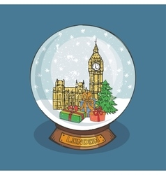 London Christmas Snow globeDoodle city vector image vector image