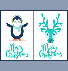 merry christmas penguin deer vector image vector image