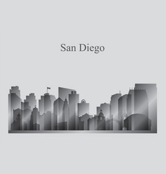 san diego city skyline silhouette in grayscale vector image vector image