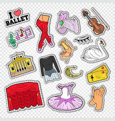 ballet doodle with dance theater stickers vector image vector image