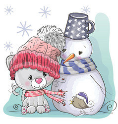 cute kitten and snowman vector image vector image