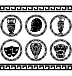 hellenic buttons stencil third variant vector image