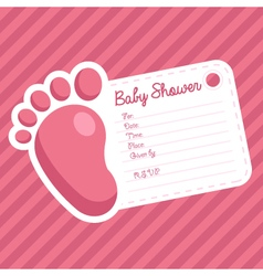 Pink Foot Baby Shower Invitation vector image vector image
