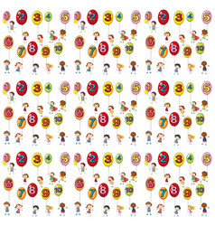 seamless background with numbers on balloons vector image