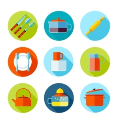 Set of flat cutlery and dishes icons vector image
