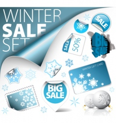 set of winter discount elements vector image