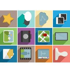 Web flat icons set design vector image