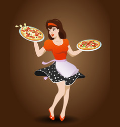 cartoon waitress with two pizzas vector image