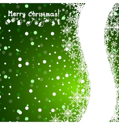 Christmas green background with snowflakes vector image vector image